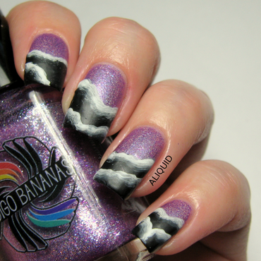 Abstract one-stroke waves nail art by Alison Fisher