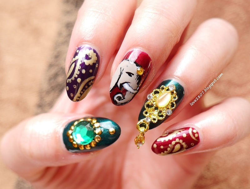 Inspired by India nail art by Anhy