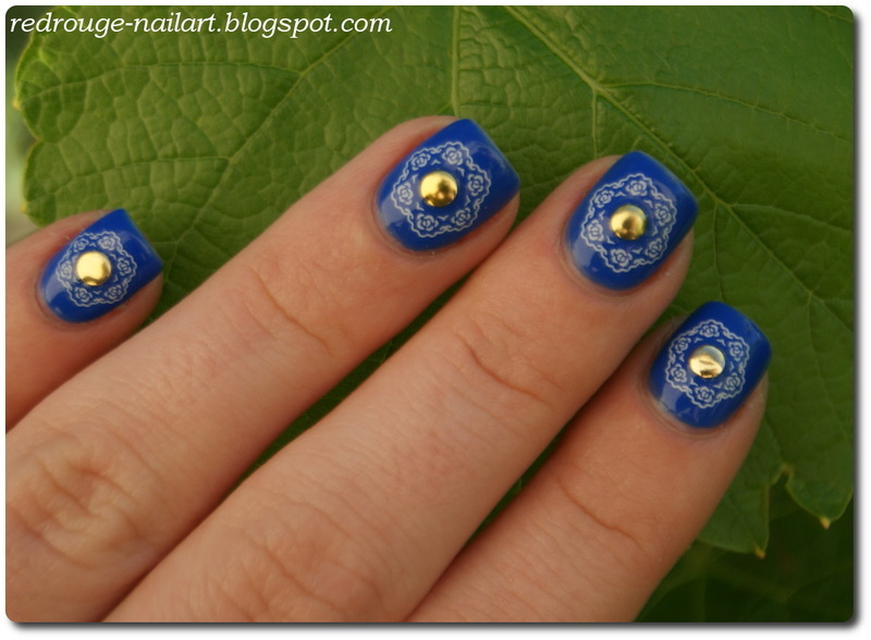 Cobalt and Studs nail art by RedRouge