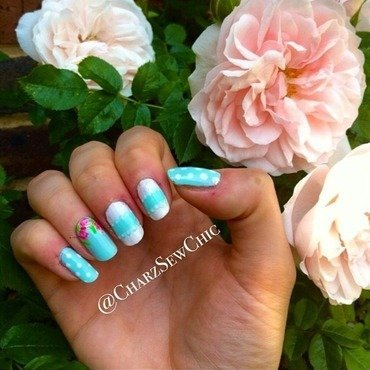Lace spotty roses nail art by Charlotte Speller