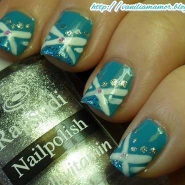 Blue nail art by Isabella