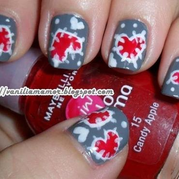 Patchwork hearts nail art by Isabella