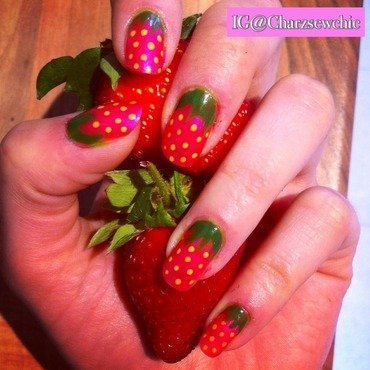 Juicy strawberrys  nail art by Charlotte Speller