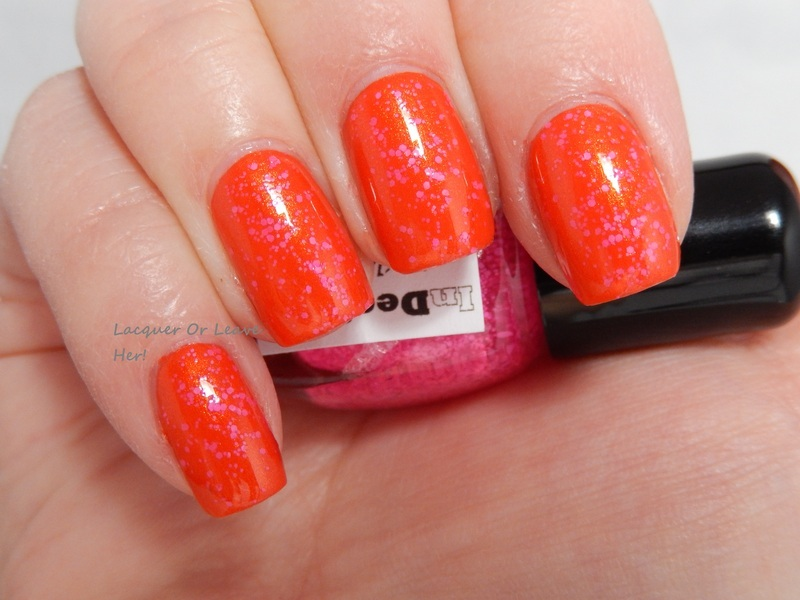 InDecisive Nail Lacquer Speckled Pink Neon and Barielle Hawaiian Sunset Swatch by Lacquer or Leave Her! Michelle Chouinard