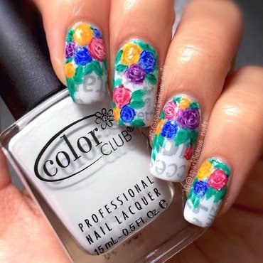 "Floral on Newspaper nail art by Amanda ""Sparklicious Nails"""