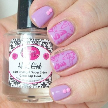 Studded Butterflies nail art by Ashlee