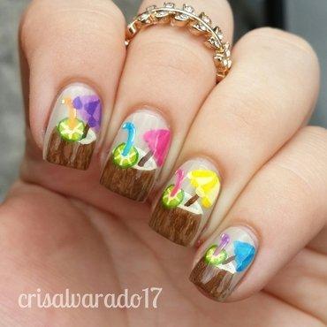 Coconut drinks nail art by Cristina Alvarado