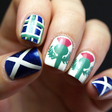 Scottish Festival Nails nail art by Emiline Harris