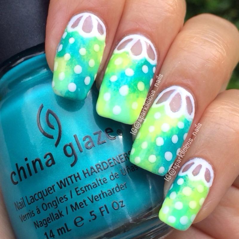 """Neon galaxy cut-out nail art by Amanda """"Sparklicious Nails"""""""