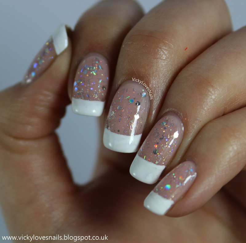 French with GLITTER! nail art by Vicky Standage