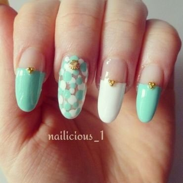 Ocean waves nail art by nailicious_1