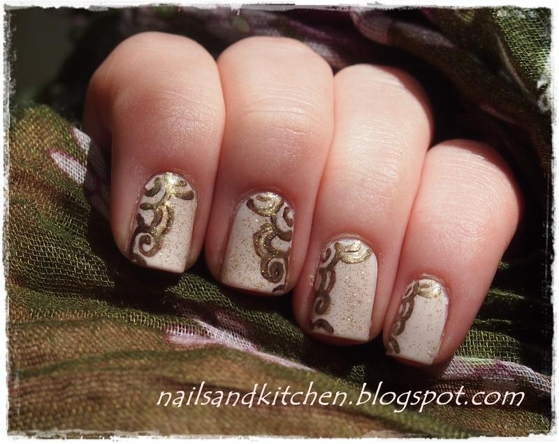 Golden helix  nail art by Eliza