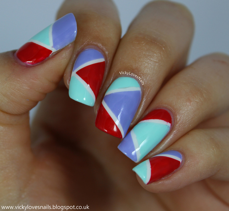 Purple red and green colour block nail art by vicky standage purple red and green colour block nail art by vicky standage prinsesfo Gallery