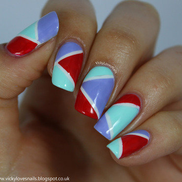 Purple, Red and Green Colour Block nail art by Vicky Standage