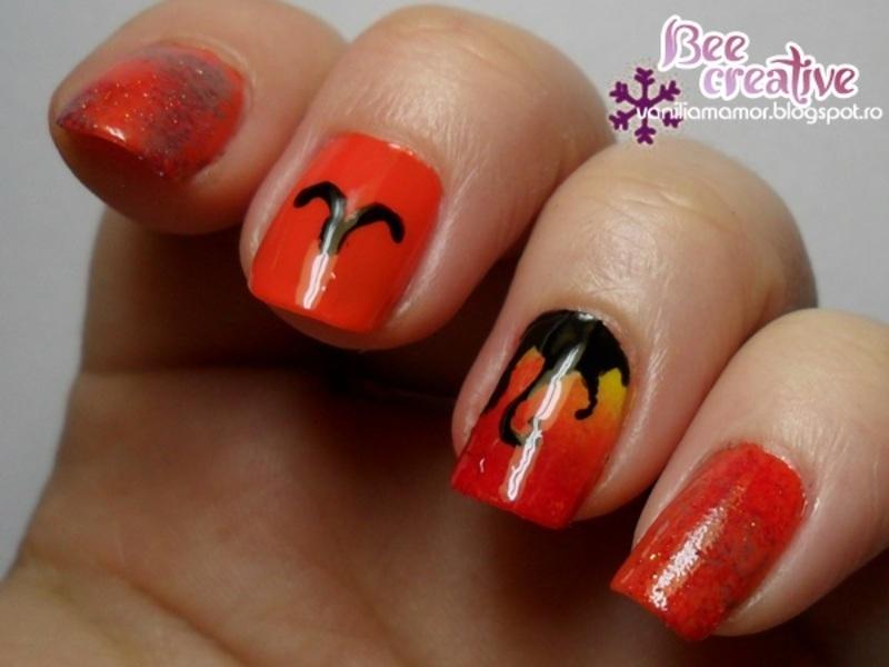 Zodiac - Aries nail art by Isabella