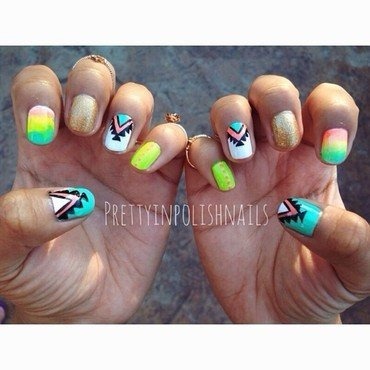 Summer Neon Nails nail art by Prettyinpolishnails