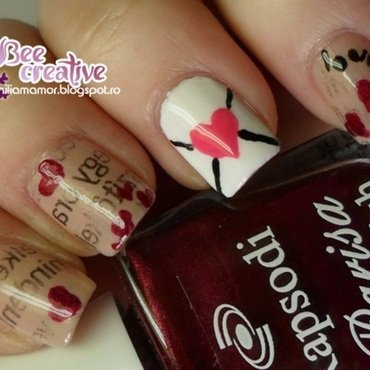 Love-letter nail art by Isabella