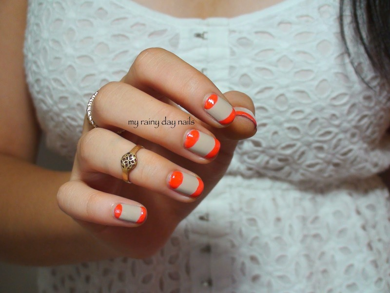 Neon Accents On Nude nail art by Nova Qi (My Rainy Day Nails)