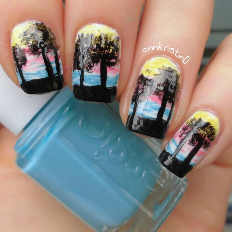 Sunset and Trees nail art by Ann-Kristin