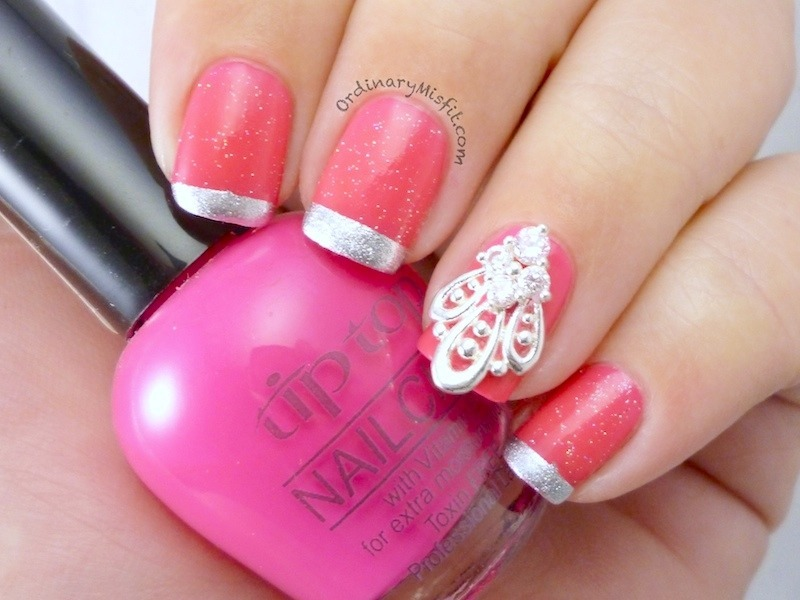 Pink and silver french  nail art by Michelle