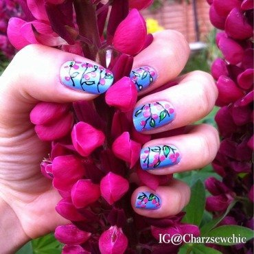 Cherry Blossom nails nail art by Charlotte Speller