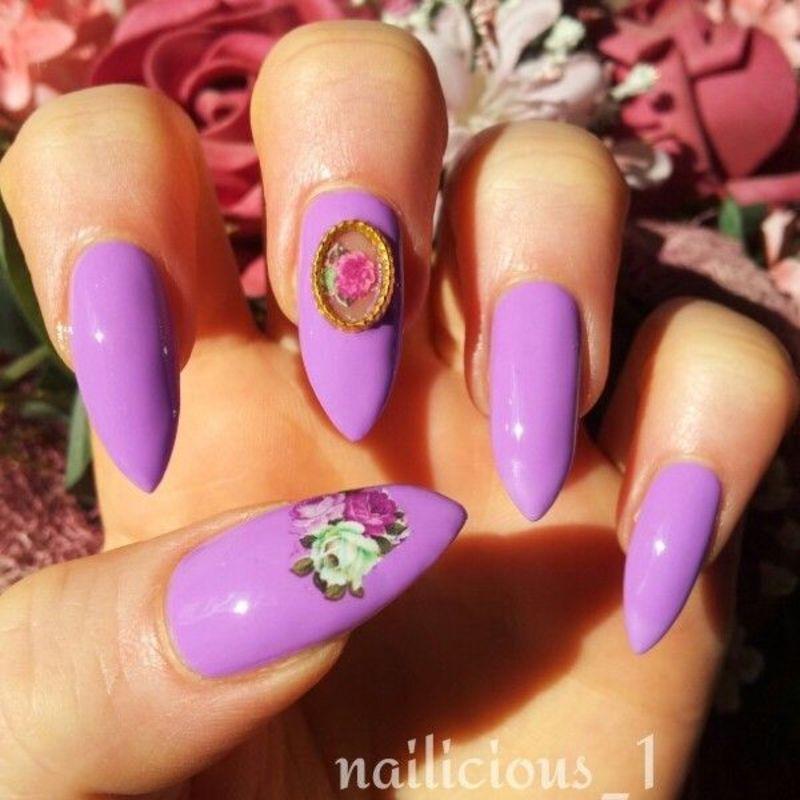 Purple nails nail art by nailicious_1