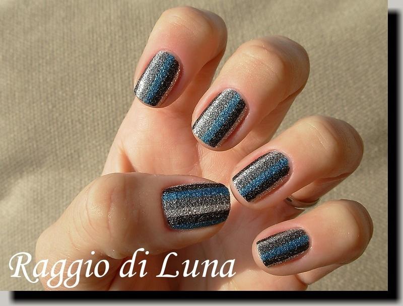 Textured stripes silver & grey & black & teal nail art by Tanja