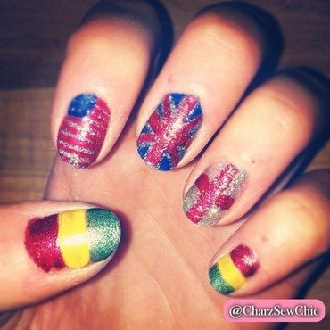 Bolivia, Great Britain, England, USA nail art by Charlotte Speller