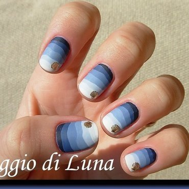 Blue gradient waves nail art by Tanja