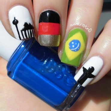 Germany & Brazil World Cup Nails nail art by Ann-Kristin