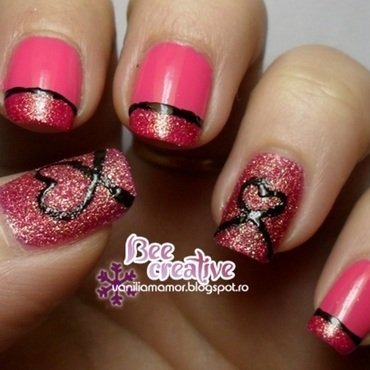 Hearts in sand nail art by Isabella