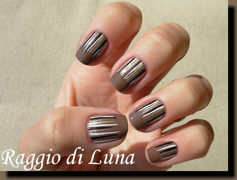 Waterfall manicure on brown nail art by Tanja