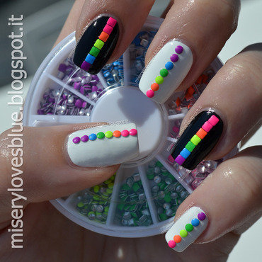 Rainbow Neons nail art by MiseryLovesBlue