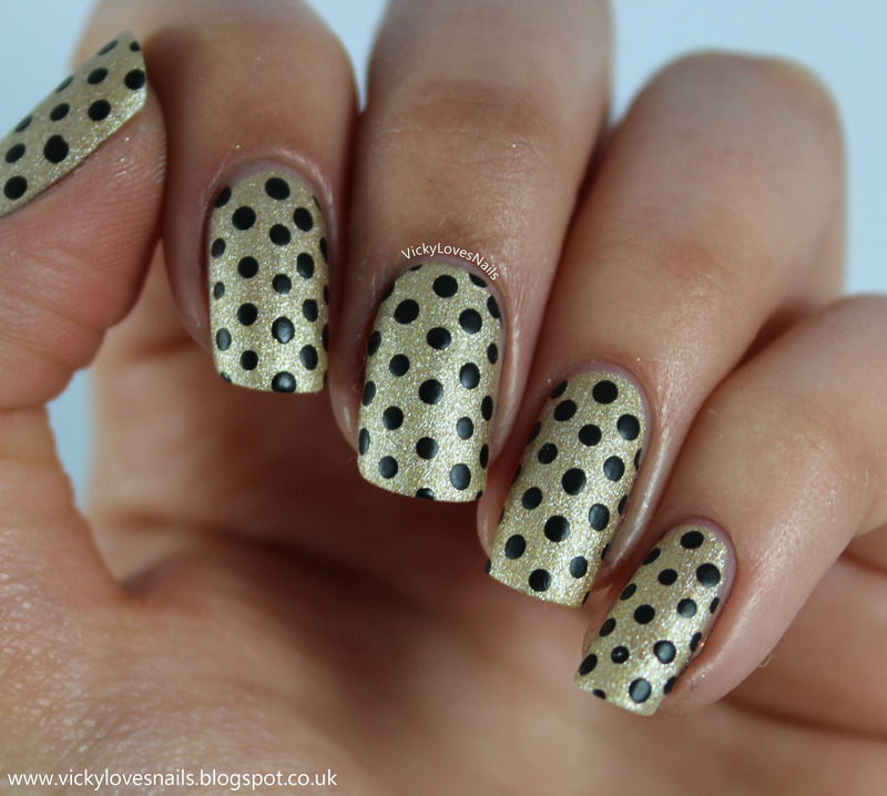Black and Gold Matte Dotticure nail art by Vicky Standage