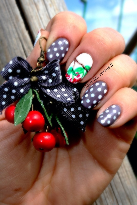 Cherry nail art by Elodie Mayer