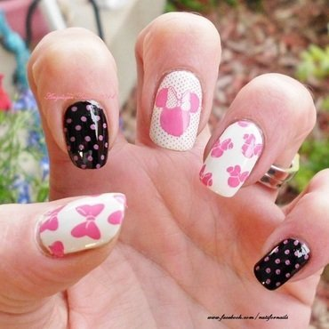 Minnie Mouse  nail art by Angelique Adams
