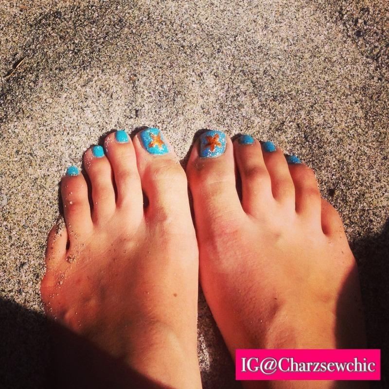 Turquoise toesies! nail art by Charlotte Speller
