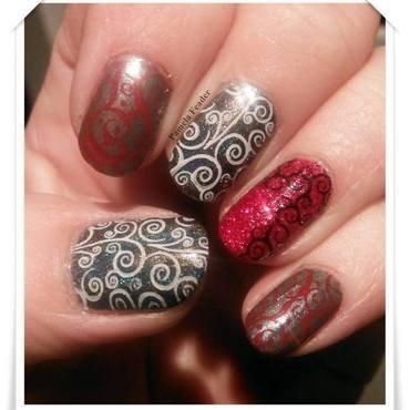 Black, Grey & Red nail art by Pamela Feader