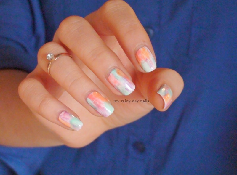Colorful Watercolor Nail Art nail art by Nova Qi (My Rainy Day Nails)