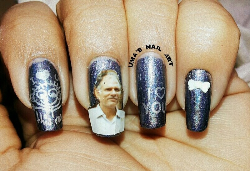 Happy Father's Day nail art by Uma mathur