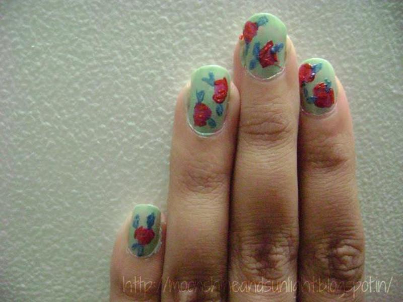 Classic vintage rose  nail art by Priyanjana Roy