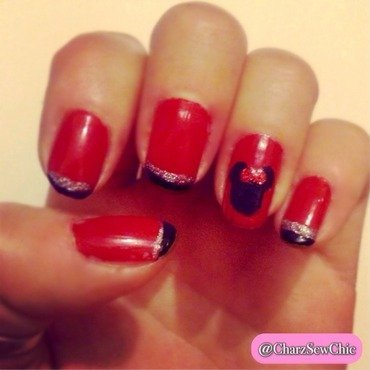 Minnie Mouse Nails nail art by Charlotte Speller