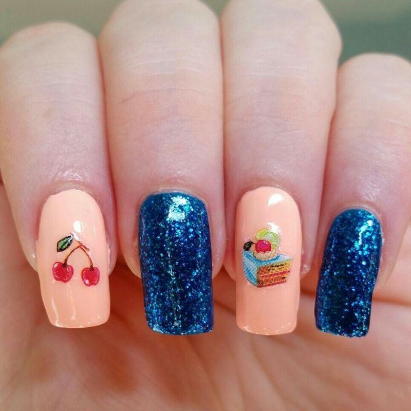 Cherry cake nail art by nailicious_1