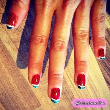Watermelon nail art by Charlotte Speller