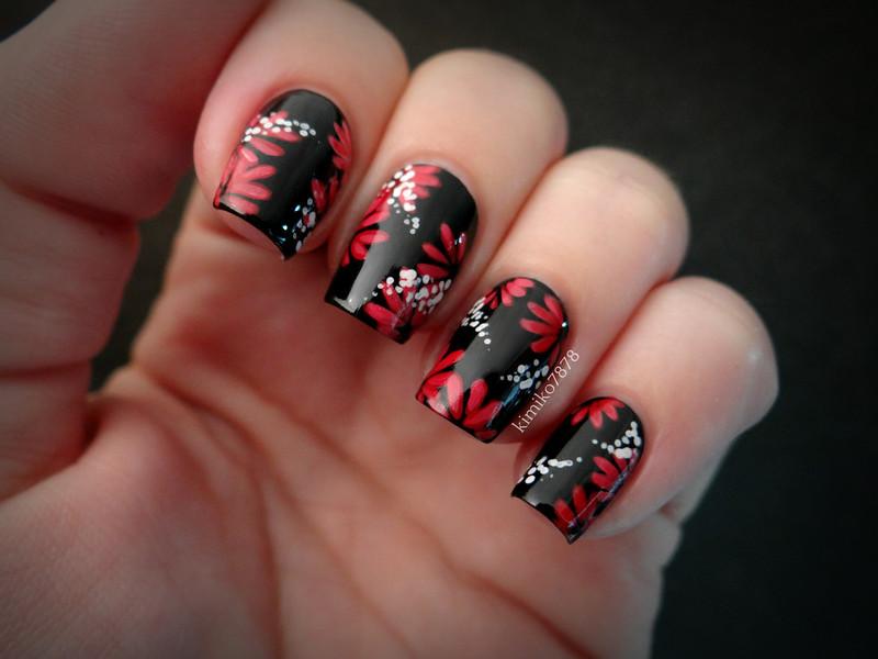 Black and Red Daisy Nails nail art by Kim