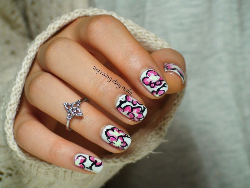 Pink Flower Nail Art nail art by Nova Qi (My Rainy Day Nails)