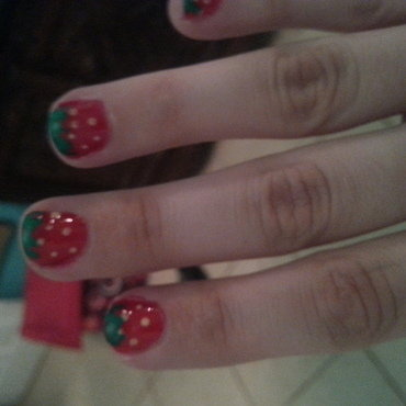 Fresh Strawberries nail art by Renataremedios