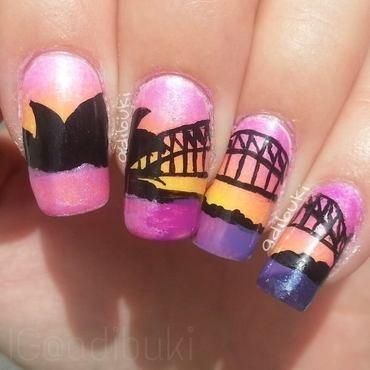 Sydney Sunset nail art by Adi Buki
