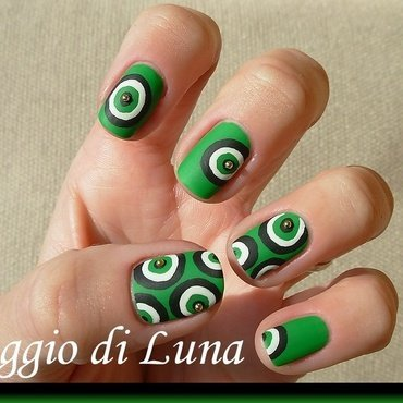 Matte abstract green & black & white nail art by Tanja