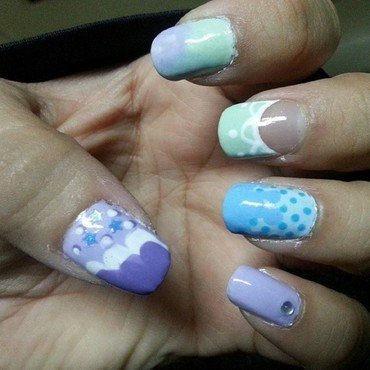 Pastel Fields nail art by Tenticurl Creations